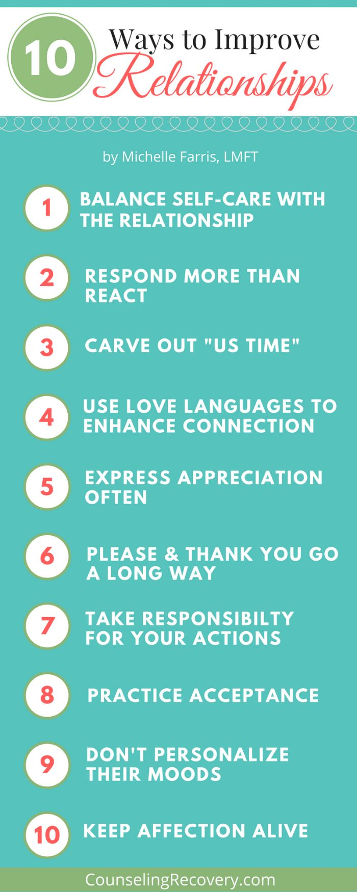 You can improve relationships by practicing these tips that improve self-care, communication and resolving conflicts. With addiction or codependent behaviors like people pleasing, not setting boundaries, relationships hurt. Click the image to learn how to transform your relationship.