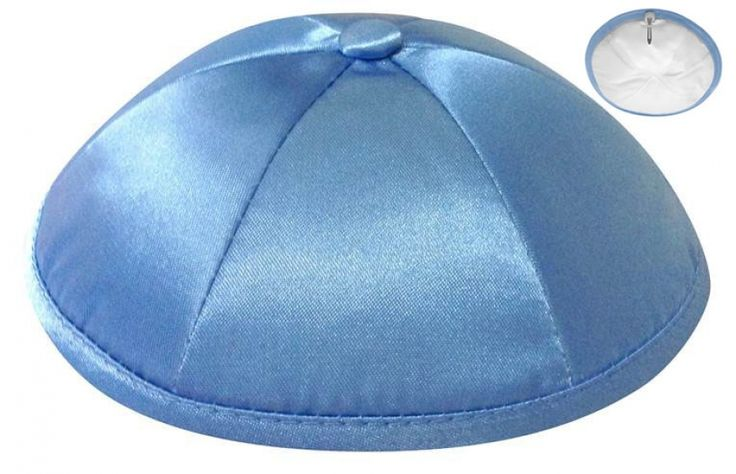 Wedgwood Six-panel deluxe satin kippah for weddings, bar and bat mitzvahs.  Personalization available.