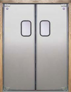 """LWP-3    Door Body: .063"""" thick tempered aluminum alloy with delta formed vertical edges    Finish: Satin anodized aluminum    Window: 9"""" x 14"""" clear acrylic set in black rubber molding"""