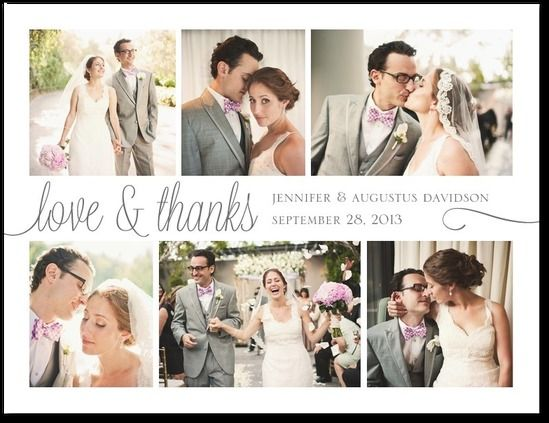 Thank you postcards from shutterfly/wedding paper divas