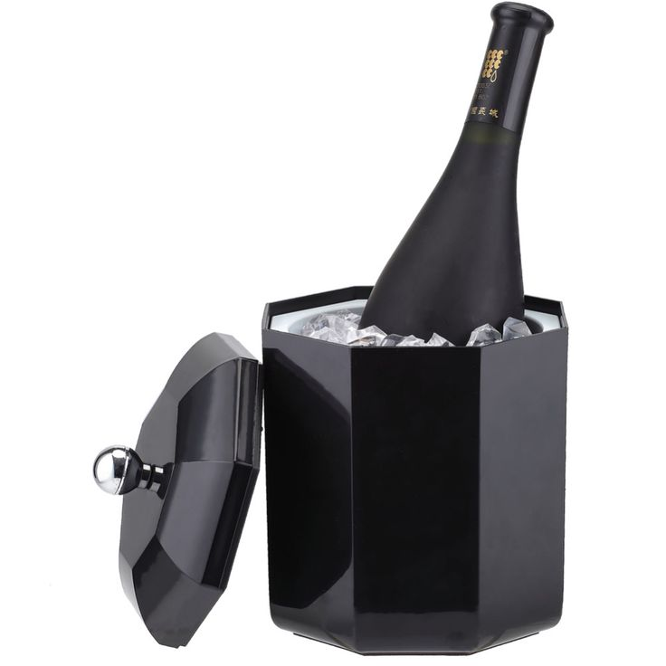 Smad 2L Ice bucket Wine Cooler High Quality Party Champagne Beer Chiller Plastic Drink Ice Box Holder for Bar-Black