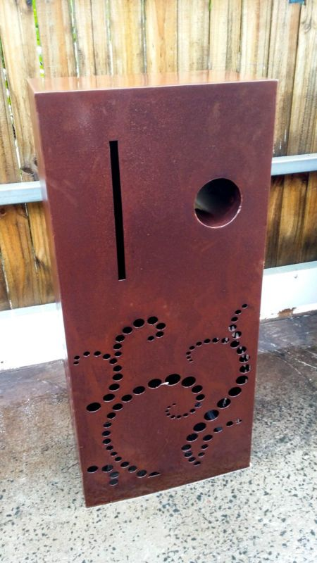 Weathered steel laser cut letterbox