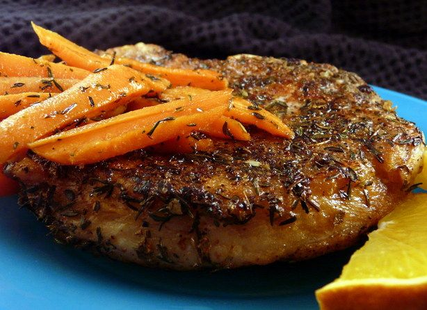 Pan Seared Pork Chops With Glazed Carrots from Food.com: These chops are nice and tangy. You could also try this with NY Strip, mouth watering Ribeye, or T-Bone steak. A special thanks to our Zaar friend PaulaG for her help with revising the recipe. :) A great way to ensure tender and moist chops is to soak them in a brine of 1 cup milk to 1/2 Tbs salt for at least 1 hour before using in a recipe.