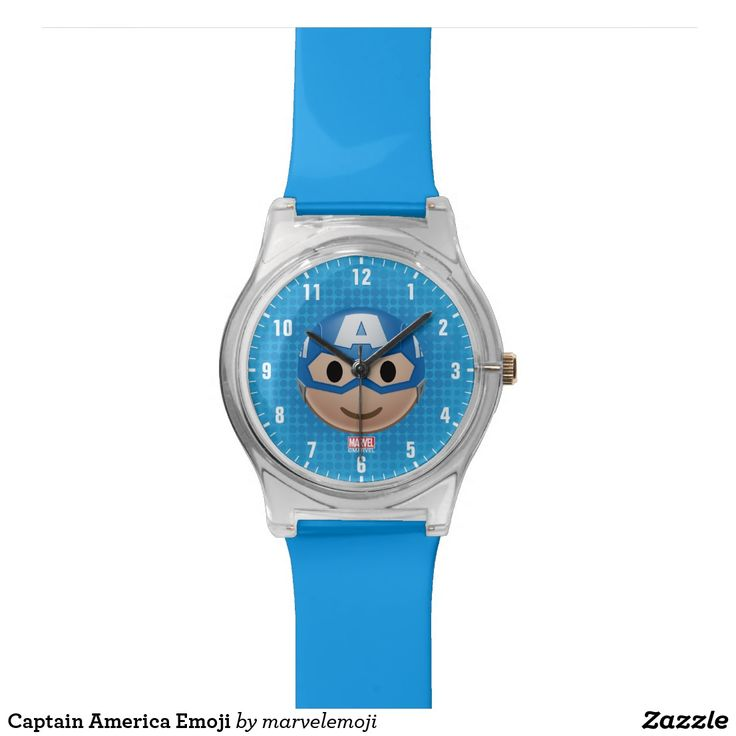 Captain America Emoji. Reloj de pulsera. Producto disponible en tienda Zazzle. Accesorios, moda. Product available in Zazzle store. Fashion Accessories. Regalos, Gifts. #reloj #watch