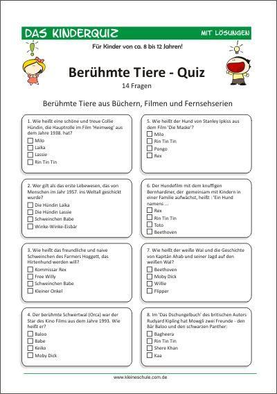 Kinderquiz - Berühmte Tiere Für Kinder von 8-12   Quiz für