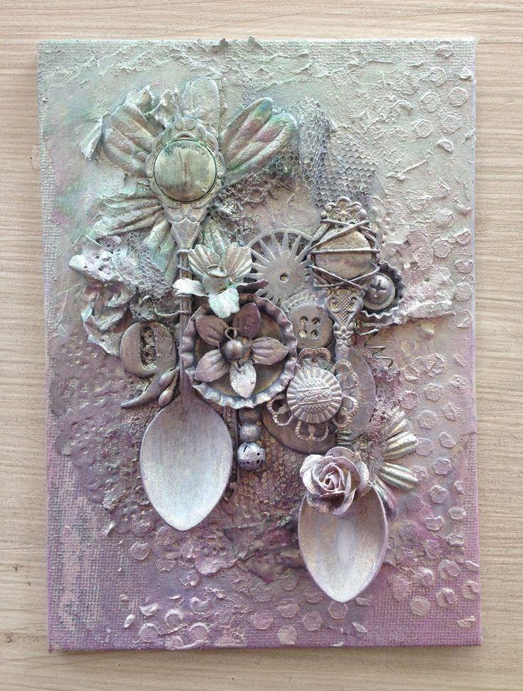 Mixed media spoon canvas @isblueart  @createcraftau