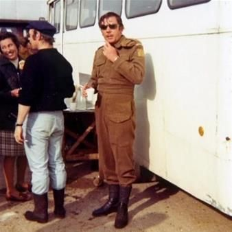 James Beck on location filming Dad's Army
