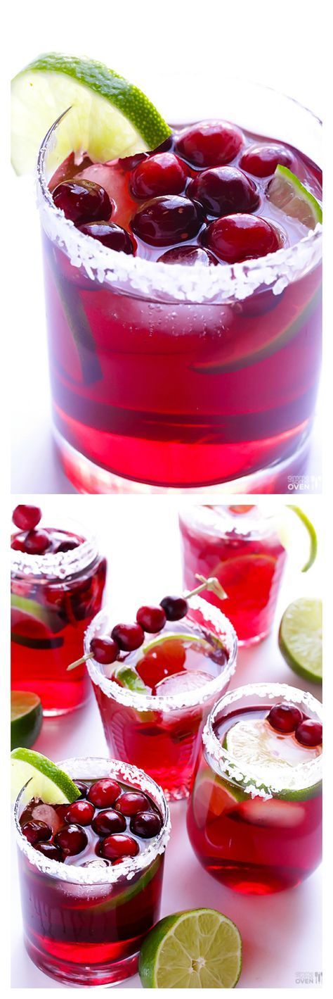 Cranberry Margaritas -- super easy to make, and so good! Perfect for Thanksgiving, Christmas, or any day you're craving a delicious marg. | gimmesomeoven.com