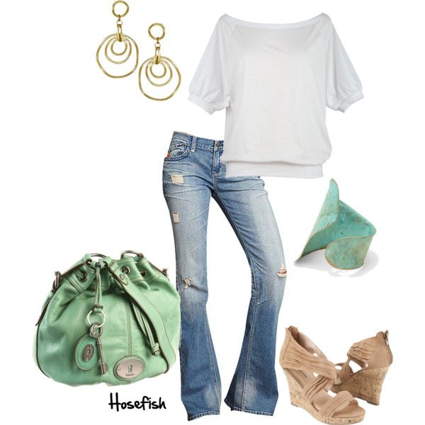 Great combo!: Outfits, Fashion, Casual Outfit, Style, Clothes, Weekend Casual, Fossil Purse