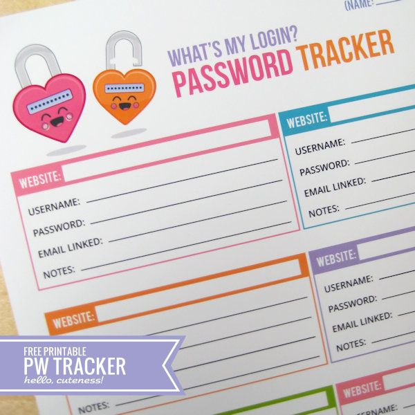 {Free Printable} What's My Login? Password Tracker (don't lose it, lol!!)