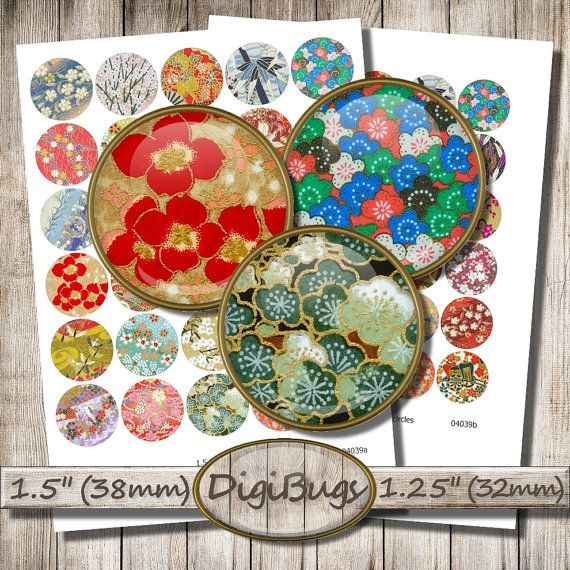 "Round Origami Images, Digital Collage Sheet, 1.25"" , 1.5"" Circles, Japanese Washi Ornaments, Chiyogami Patterns, Digital Download, d1"