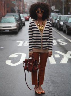 i luvvvv this... 70's cool!!!- I want all of it- love the Marni style necklace, the 3/4 pants, mary janes, bag, stripe cardie- and I want that hair- oh how i love this look.......reminds me of an old photo of mum in the 70's!!!!