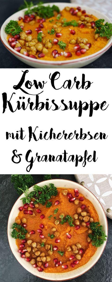 Kürbis ist mein liebstes Herbstgemüse. Die Low Carb Kürbissuppe ist mit Curry, Granatapfel und den Kichererbsen wunderbar fruchtig und außerdem schnell zubereitet.