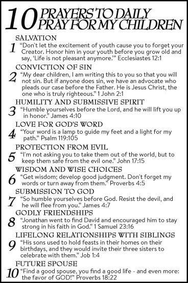 10 prayers to pray for my children