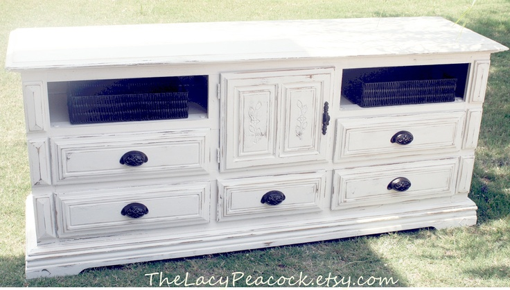 Vintage White Distressed Dresser/ Tv Stand/Buffet/Changing