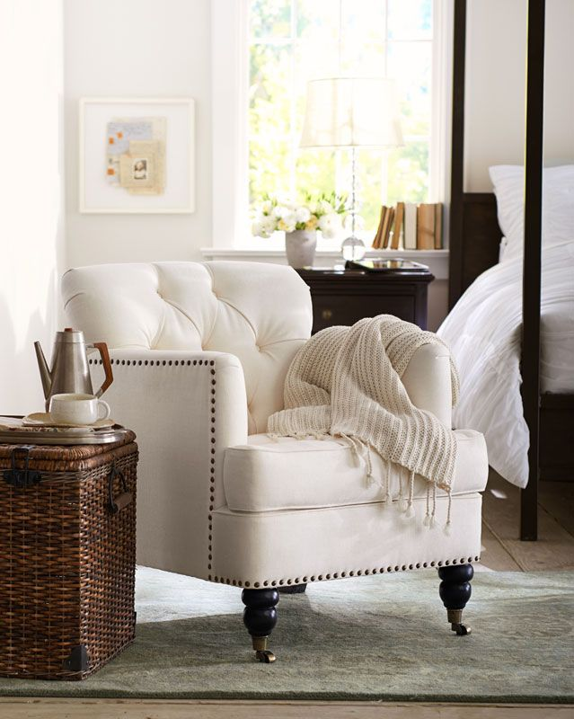 Oh oh, my empty upstairs room. i am thinking a tiny office spot in there and the rest a retreat for me. This chair has my name on it. Find a great seat. #potterybarn