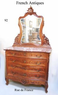 FRENCH DRESSING COMMODE CHEST OF DRAWERS  WITH ROUGE MARBLE TOP