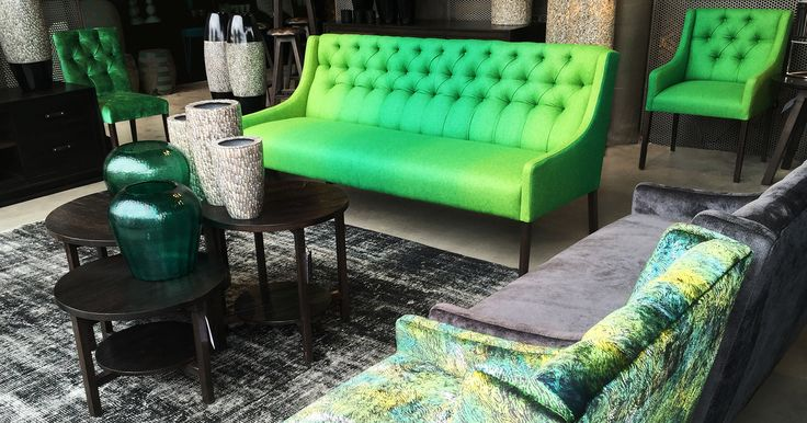 Edit description Flax sofa in grass green woollen felt with feature diamond buttoning. Designed and made in Australia. jimmy by Jimmy Possum