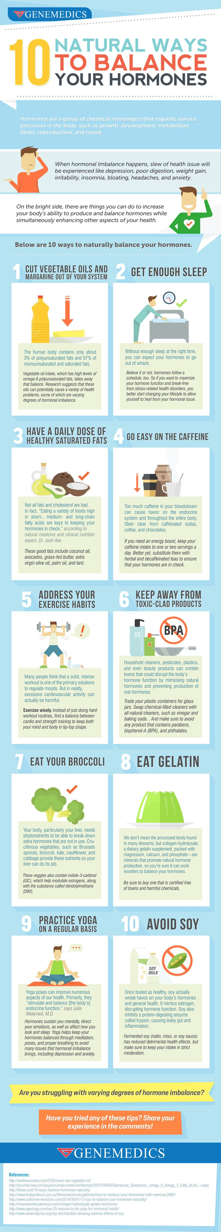 10 natural ways to balance your hormones infographic