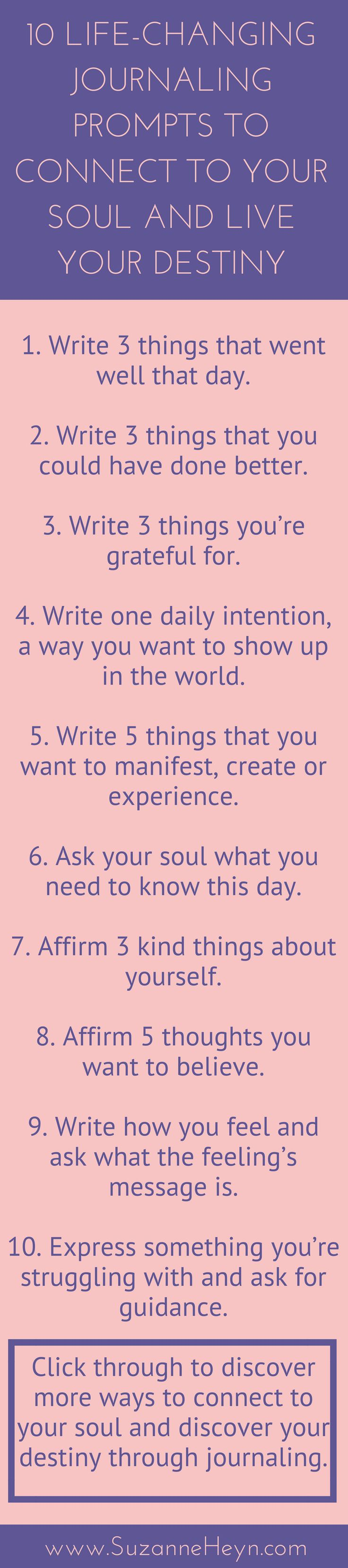 Powerful journaling prompts for people on the spiritual journey who want to increase self-love, find their life purpose, live their destiny and enjoy peace, happiness, joy, meaning, freedom, love, yoga and meditation.