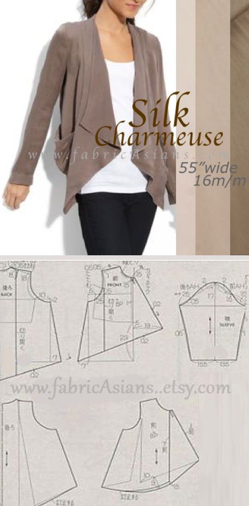 Blazer sewing pattern Free. Silk Charmeuse Blazer Sewing Project. Silk Charmeuse by fabricAsians on etsy