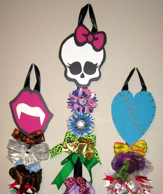Monster High Hair Bow Holder Set. You could actually make this for $8.00 i spent $5.00 because i already had the paint. N my turned out better!