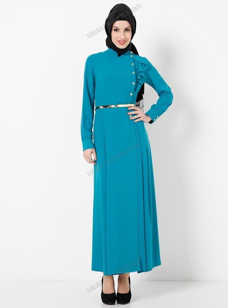 Dore Kemerli Yakası Fırfırlı Ferace 9713 - Petrol - Tekbir Giyim