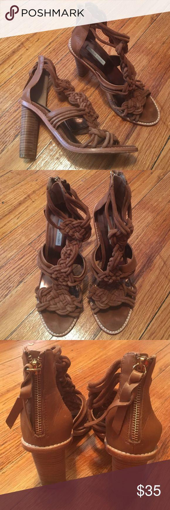 Cynthia Vincent Tan Suede Dress Sandal 4-inch heel Cynthia Vincent Shoes Heels