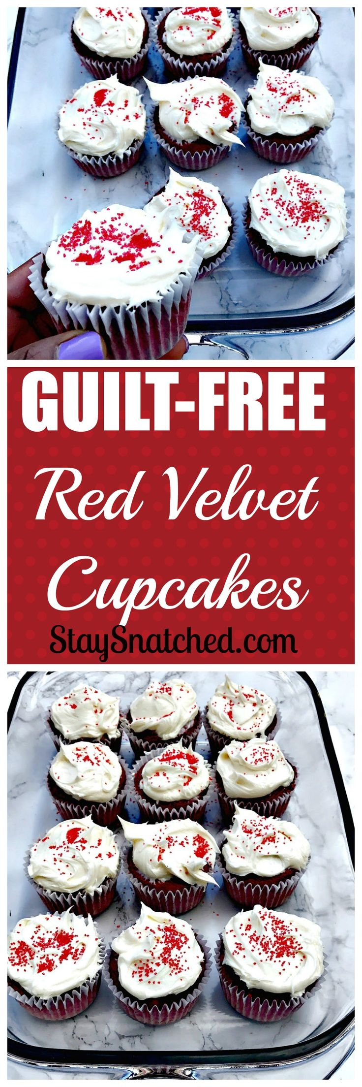 Guilt-Free Red Velvet Cupcakes topped with cream cheese frosting and sprinkles #RedVelvet #Cupcakes #Skinny #ValentinesDay