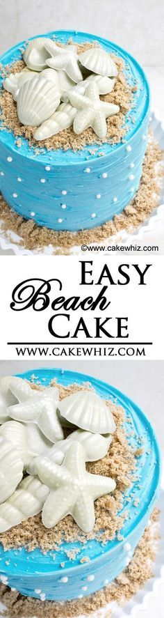 This EASY BEACH CAKE is perfect for Summer parties! It's decorated with brown sugar sand and chocolate seashells. From cakewhiz.com