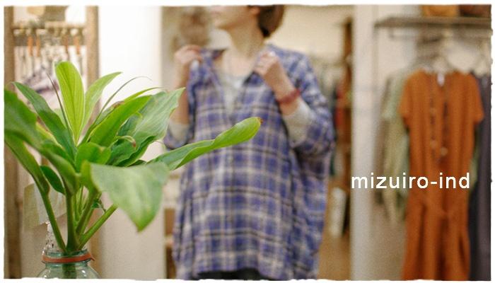 mizuiro-ind・ミズイロ インドからチェック柄のノーカラーワイドシャツが届きました!