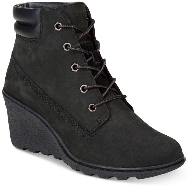 Timberland Women's Amston Wedge Booties ($130) ❤ liked on Polyvore featuring shoes, boots, ankle booties, black, black booties, wedge sole work boots, wedge work boots, wedge sole boots and wedge heel boots