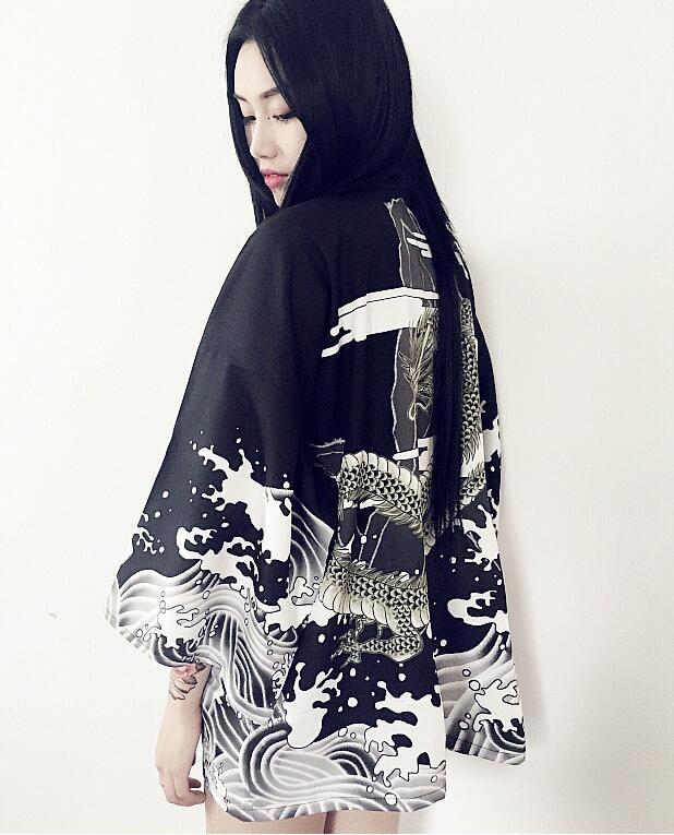Винтаж Японский Harajuku стиль волны и ветер дракон Японский кимоно печати шифон кардиган летом солнце купить на AliExpress
