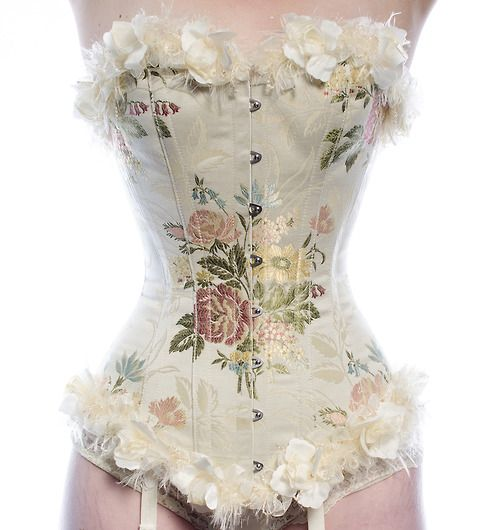 Italian embroidered brocade overbust corset with floral & feather trim