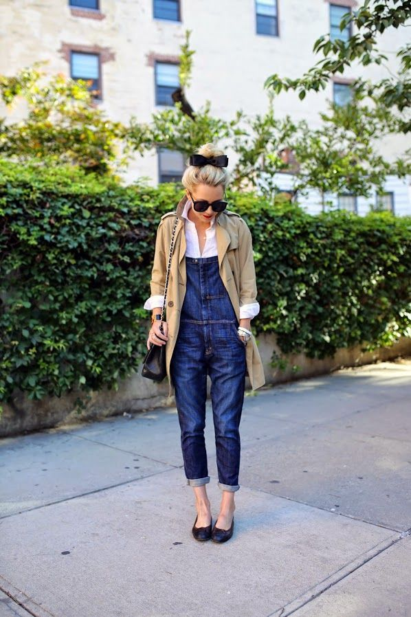 Overalls: Current/Elliott, Trench: Gap. Top: Jcrew. Shoes: Chanel. Bag: Chanel c/o LXR & Co. Sunglasses: Karen Walker 'Super Duper'. Bangles: Hermes