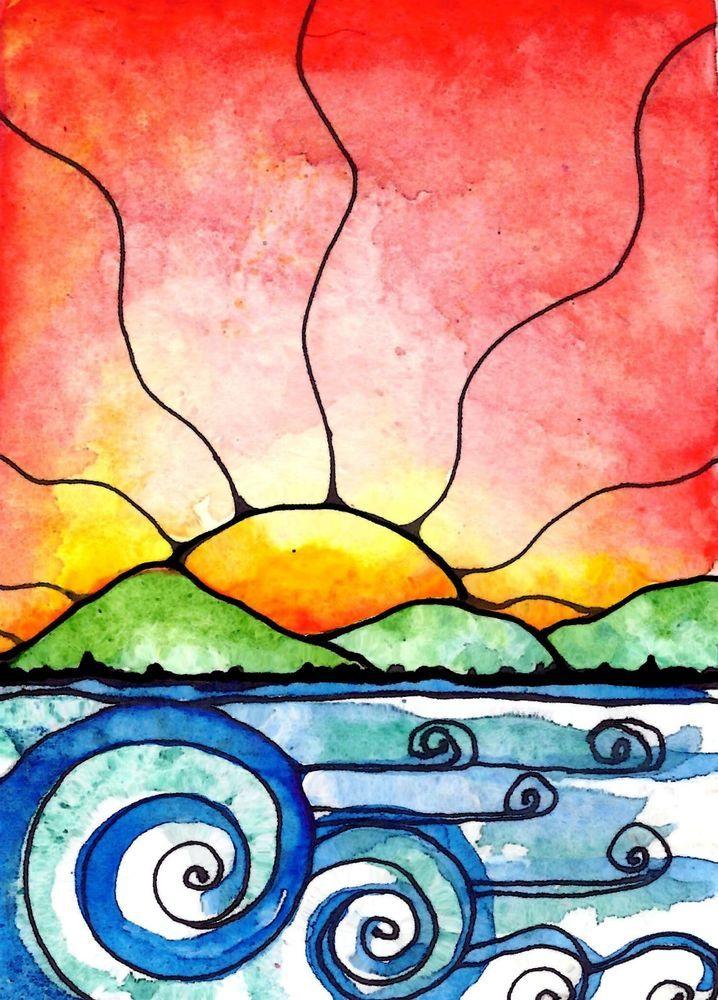 ACEO original art card Summer Breeze ocean beach sunset sunrise waves seascape sunset art