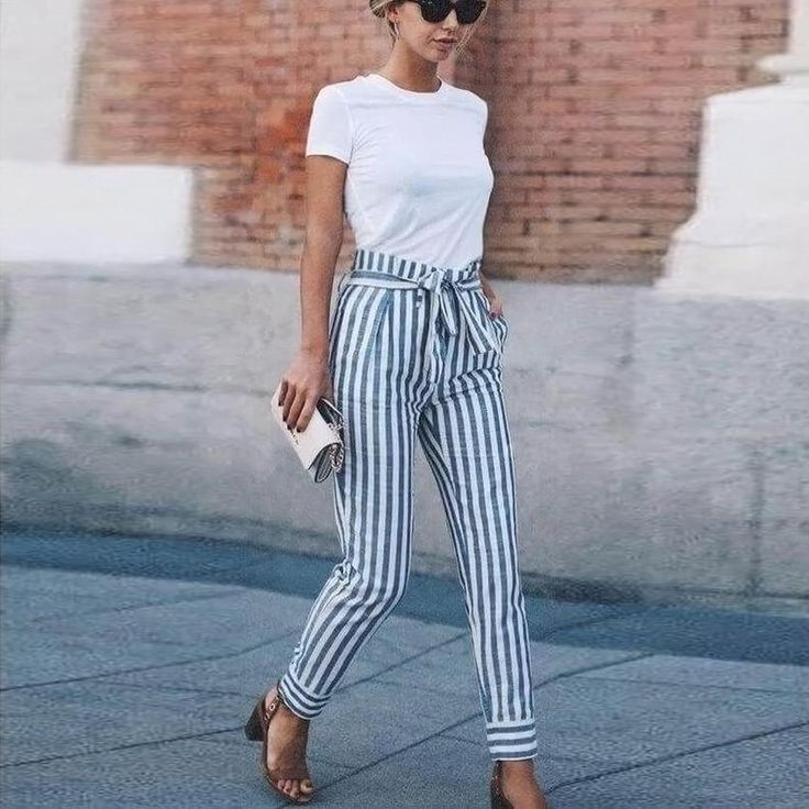 Belted Striped High Waisted Tapered Pants