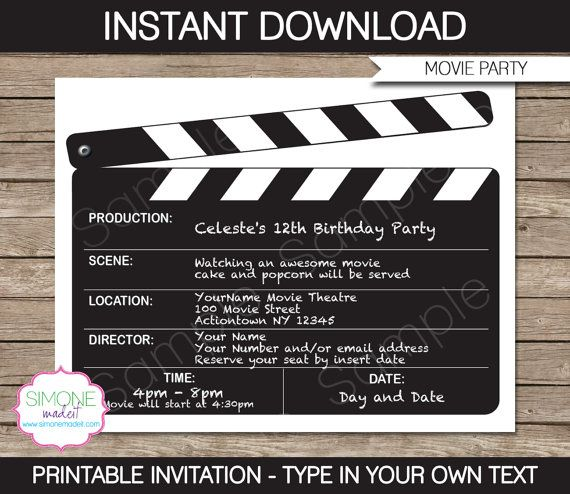 Movie Party Invitation & Printable Collection door SIMONEmadeit