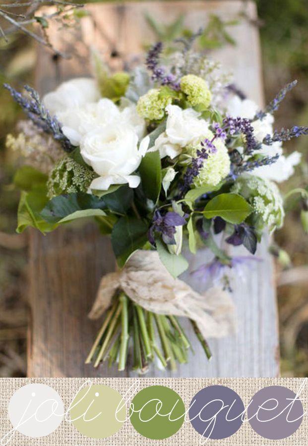 Bouquet de mariée {vert, blanc et lavande}
