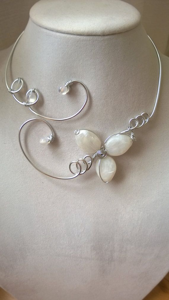 Wedding jewelry  Alu wire necklaces  White by LesBijouxLibellule