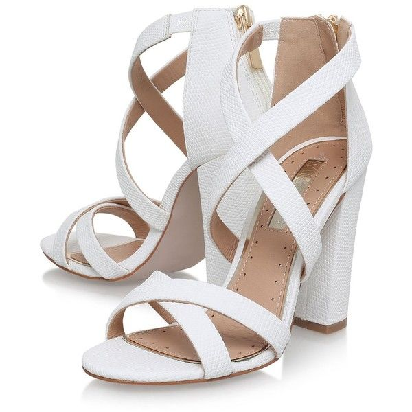 Faun White High Heel Sandals by Miss Kg ($90) ❤ liked on Polyvore featuring shoes, sandals, heels, zapatos, white high heel sandals, heeled sandals, miss kg, white colour shoes and synthetic shoes