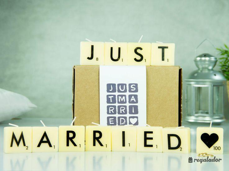 Velas Scrabble para recién casados. 12 Velas con diseño de ficha de scrabble ¡La decoración más original para recién casados! ¡Estilo y diversión en un detalle inesperado!