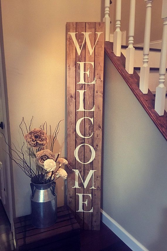This Farmhouse Style Tall Wooden Welcome Sign Is A Beautiful