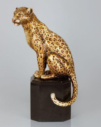 H7H47 Jay Strongwater Sitting Leopard Figurine | Biblolar ...