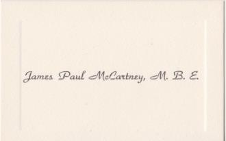 Paul McCartney's 1965 Business Card--FREE SHIPPING