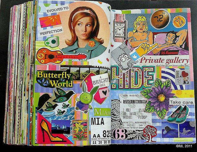 collage from magazines in art journal. just like how I used to do it in high school... Journal page by deLoto.