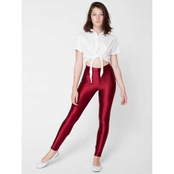 The Disco Pant ($85) ❤ liked on Polyvore featuring pants, disco pants, american apparel, red, stretchy pants, high-waisted disco pants, red stretch pants and high-waist trousers