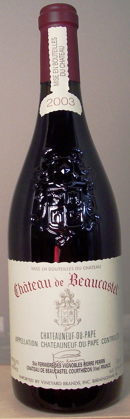 Arguably one of the most well known Chateuneuf du Papes is the Perrin Family's Chateau de Beaucastel. Traditionally, a little tightly wound in its youth, this is definitely a wine to cellar and will reward those patient enough to lay it down. Older vintages have been said to possess a bouquet evocative of Raid Spray, but in a good way. The oldest vintage I ever tried was the '89 and it definitely had that aromatic component.