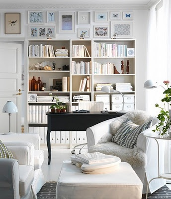 now thats a home office!Decor, Ideas, Living Rooms, Ikea Living Room, Offices Spaces, Living Room Design, Livingroom, Bookcas, Home Offices