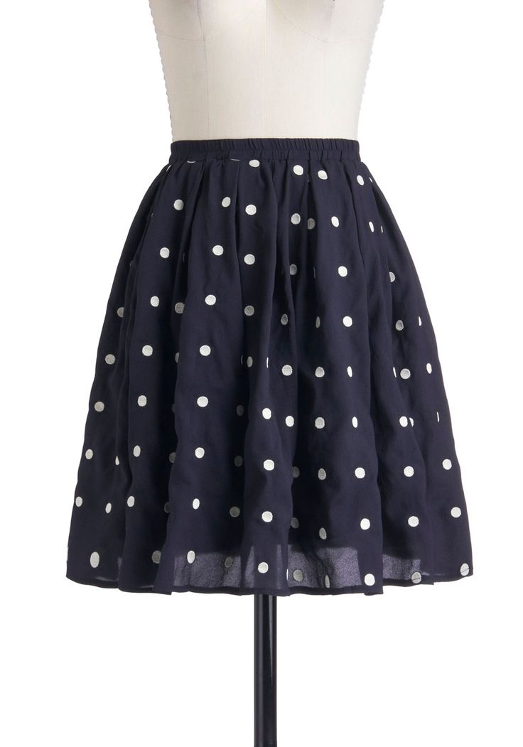 Give It Your Best Dot Skirt - Blue, Polka Dots, Pleats, A-line, Mid-length, White, Pockets, Work, Casual